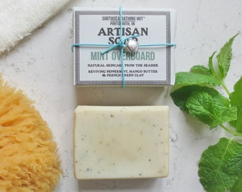 Mint Artisan Soap from the Coast //Handmade Soap, Natural Soap, Vegan Soap, Mint, Essential Oil, Skincare, Shaving Soap