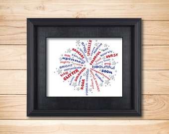 July 4th Fireworks / Word Art Typography / Wall Art / Home Decor / Unique Gift / Sparklers Independence Day / Fourth of July