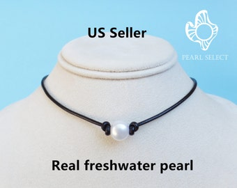 pearl choker necklace,black choker,single pearl necklace,pearl leather necklace,Adjustable pearl necklace,pearl choker necklace