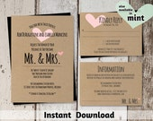 Wedding Invitation Template - Printable Set | Mr and Mrs with Heart & Rustic Font on Kraft Paper | Editable DIY PDF - Instant Download Suite
