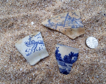 3 thames pottery shards featuring windmills