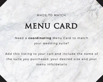 Coordinating Menu Card