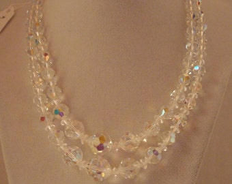 Beautiful two strand vintage crystal necklace