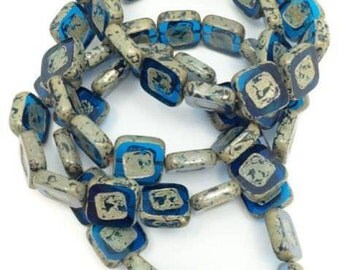Glass squares, blue, transparent, 15 piece, 14mm,