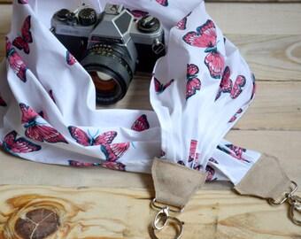 camera strap, DSLR camera strap, butterfly scarf