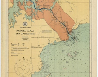 Panama Canal and Approaches Historical Map 1923