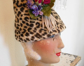 1960's Faux Leopard Print Turban Style Hat with Flowers
