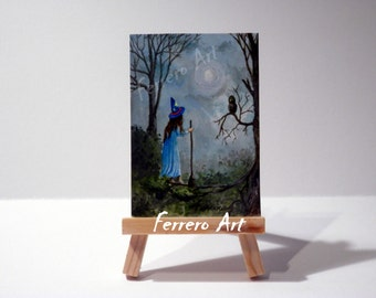ACEO ACRYLIC painting on cardboard. Original Aceo. Painting with acrylic. Blue, green, gray, landscape, children,