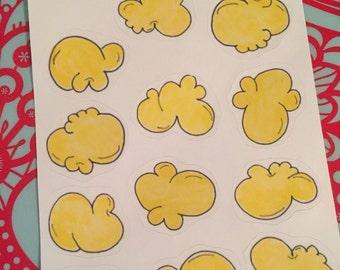 Movie Night Popcorn Stickers