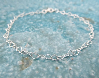 Sterling silver heart bracelet, love bracelet, heart bracelet