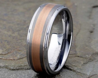Tungsten Carbide Wedding Band, Mens Wedding Band, Rose Gold Plated Brushed Wedding Ring, Anniversary, Wedding Band Mens