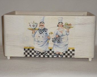 Vintage wooden crate chefs