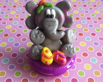 Handmade Polymer Clay Easter Elephant