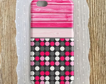Hot Pink Polka Dots Polka Dot Phone Case Polka Dot iPhone Hot Pink Wood Case Hot Pink Samsung S7 S6 Hot Pink iPhone 6 Hot Pink iPhone SE