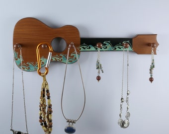 Ukulele Jewelry, Key Rack, Surfing Dolphins, Blue-Green Marble Colored