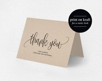 Thank You Card, Wedding Thank You, Thank You Card Template, Printable Thank You, Folded Thank You, Tented, PDF Instant Download #BPB203_27