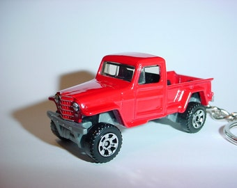 3D Red Willys Jeep 4x4 truck custom keychain by Brian Thornton keyring key chain finished in awesome