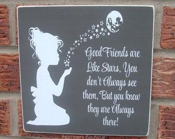 """8x8"""" good friends are like stars"""