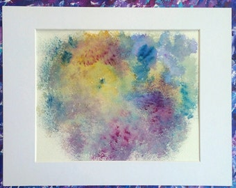 "Colorful Original Abstract Watercolor Painting/Matted 11""x14""."