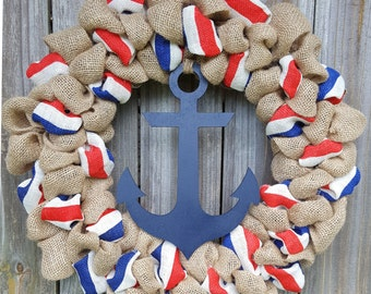Anchor Wreath, ON SALE, Burlap Anchor Wreath, Nautical Wreath, Front Door Wreath, Summer Wreath, Burlap Wreath, Beach Wreath, 4th of July