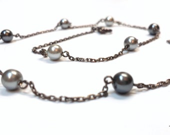 Vintage Napier faux grey pearl and chain necklace
