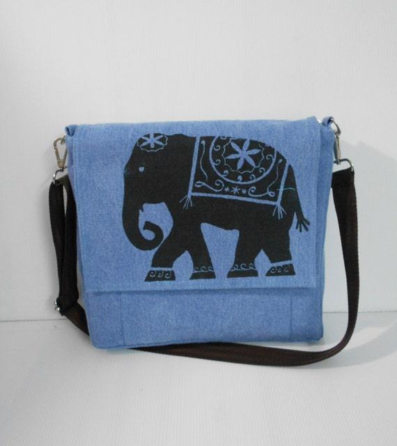 blue messenger bags elephant bag school by unicraftbag