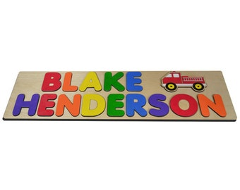 Fire Truck Personalized Wooden Name Puzzle With Two Names A Truck and Primary Colors id406932206