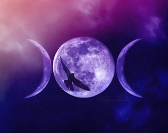 Wicca Triple Goddess Moon Canvas or Mounted Print Wiccan Pagan Purple Home Decor Witch Witchcraft