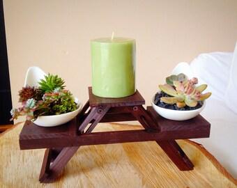 Succulent centerpiece/ cacti centerpiece / candle stand/ planter with stand/ zen decor/ white shaped ceramic planter