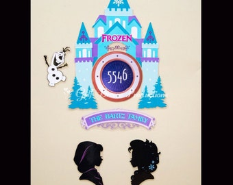 Frozen Castle with Olaf Elsa and Anna Disney Cruise Stateroom Door Magnet Set