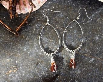 Boho hoop drop earrings with amber seaglass