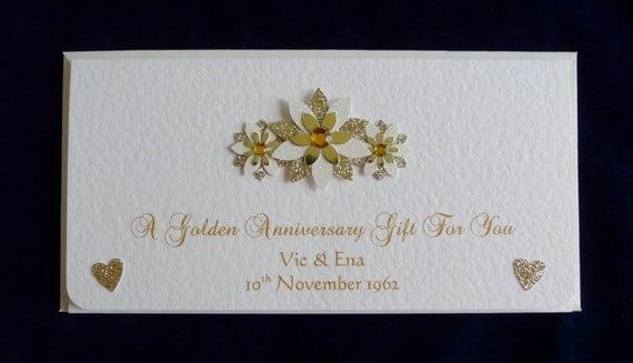 Personalised 50th Golden Wedding Anniversary Money/Gift/Voucher/ticket ...