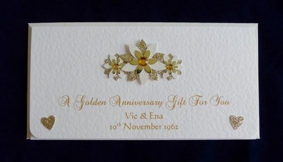 Personalised Wedding Gifts Voucher : Personalised 50th Golden Wedding Anniversary Money/Gift/Voucher/ticket ...