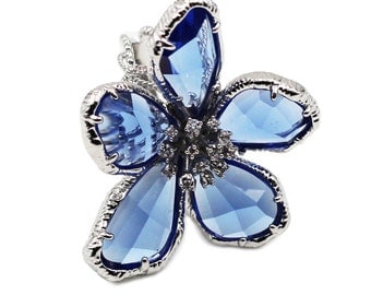 Blue Flower Crystal Ring