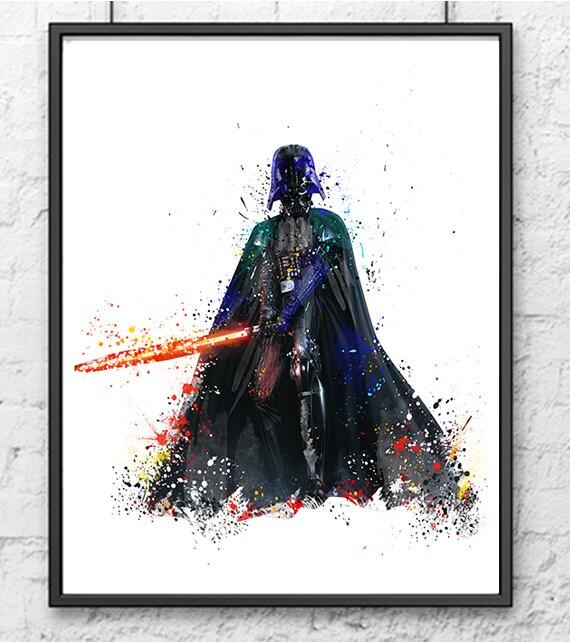 Darth Vader Watercolor Print Star Wars Movie by gingerkidsart