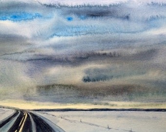 Iceland, Golden Circle, Snow painting, winter painting, Iceland painting, landscape watercolor, Iceland watercolor, sky painting