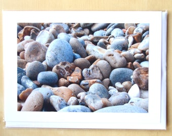 Beach Pebbles Blank Greetings Card with Envelope. Blank for own message.