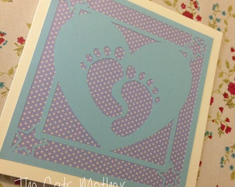 New Baby - Baby Feet Paper Cutting Template - Commercial Use