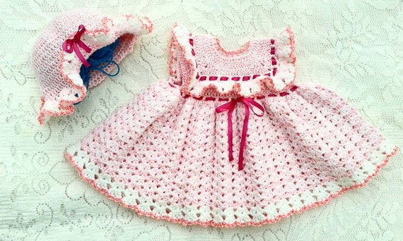 Crochet Baby Dress And Bonnet Pattern : Crochet Baby Dress Pattern 2. Baby Hat Pattern by ...