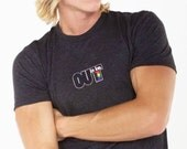 OUT is in USA Gray Crew Neck T-Shirt,tri blend, pride wear,Out pridewear t-shirt, gray tri-blend tshirt, Unisex Out is in USA shirt, sexy