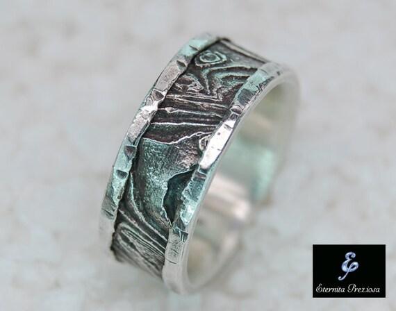 unique silver wedding band cuttlebone rustic mens ring mens