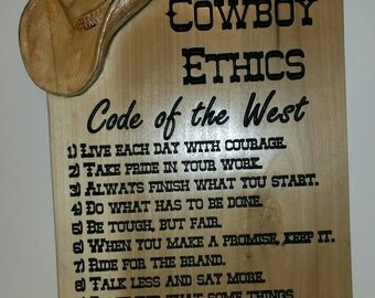 The Cowboy Code of Ethics 3D Carved Hat Western Sign CODE of the WEST