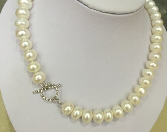 Pearl Necklace, 8-9 White Freshwater Pearl Necklace Jewelry, flower pearl necklace, nature pearl necklace