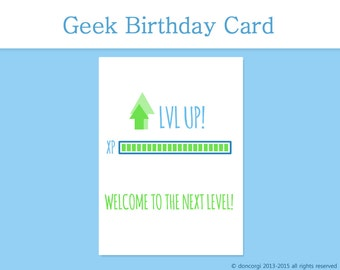 Gamer Birthday Card, Level Up Card, Funny Birthday, Nerdy Birthday Card, video games card, Happy Birthday, Printable - INSTANT DOWNLOAD