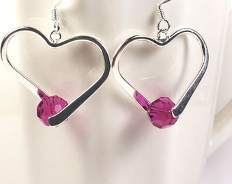 Silver and pink Swarovski crystal heart earrings. Valentine's Day gift for her.