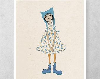 Nursery art print, Baby girl art, Girl illustration, Nursery decor, Whimsical drawing