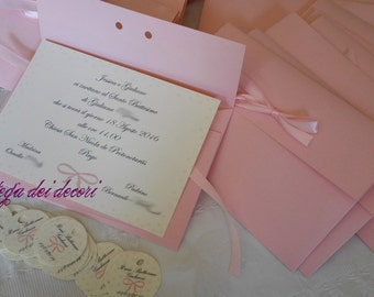 Baptism invitation with envelope, handmade and customizable