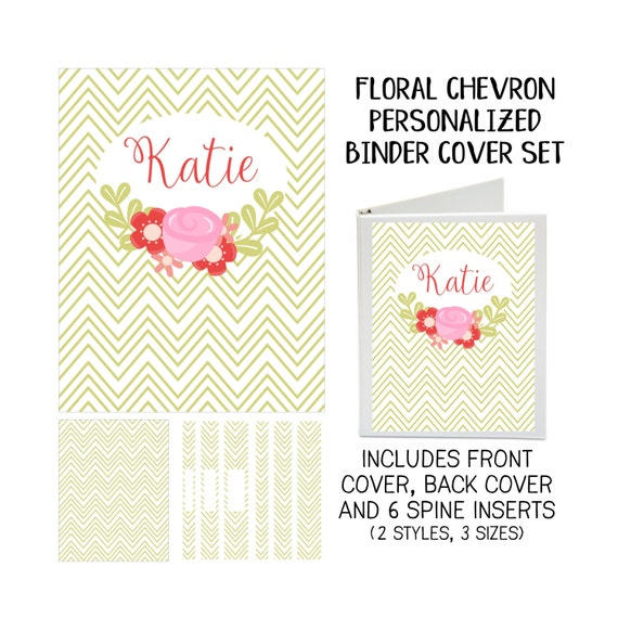 Floral Chevron Printable Binder Cover Set with Front & Back Covers and Spine inserts - Personalized- Dress up Your Three Ring Binder!