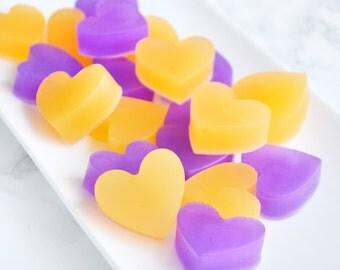 Purple and Orange Wedding - Fall Wedding Favors - 20 Homemade Soaps - Heart Wedding Favors - Glycerin Soap - Cadbury Purple Wedding Decor