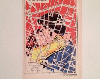 City Map - Paris - Pompidou - Paper Cut - Collage - Hand Made